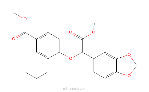 CAS:159590-92-8_Methyl4-(benzo[1,3]dioxol-5-yl-carboxymethoxy)-3-propylbenzoate的分子结构