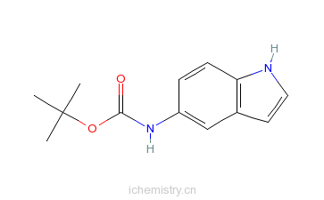 CAS:184031-16-1_(1H-Indol-5-yl)-carbamicacidtert-butylester的分子结构