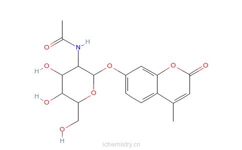 04-9_4-甲基伞形酮-2-乙酰胺基-2-脱氧-α-d-吡喃葡萄糖苷的分子结构
