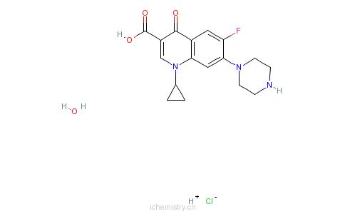 cas:86393-32-0_盐酸环丙沙星(一水物)的分子结构